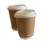 Insulated 12oz coffee cup from Biopac, brown kraft (34cl) (pack of 25)