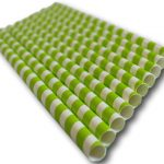 Paper straw from Biopac, green white stripe (6mm diam, 20cms long) (pack of 250)