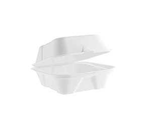 Recyclable takeaway packaging company 'Vegware' offer their compostableand biodegradable white burger boxes made from sustainable materials, priced by us.
