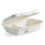 "Rectangular 2 compartment takeaway box from Biopac, white (9""x6"") (pack of 125)"
